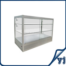 Wall mounted glass display cases, metal storage cabinets pharmacy counter, sliding glass display cabinet