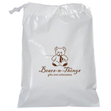 White laundry bag LDPE custom plastic drawstring bag for laundry