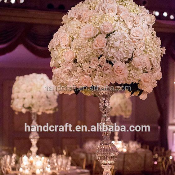 wholesale wedding pastic artificial flower arrangements in vase or pillar
