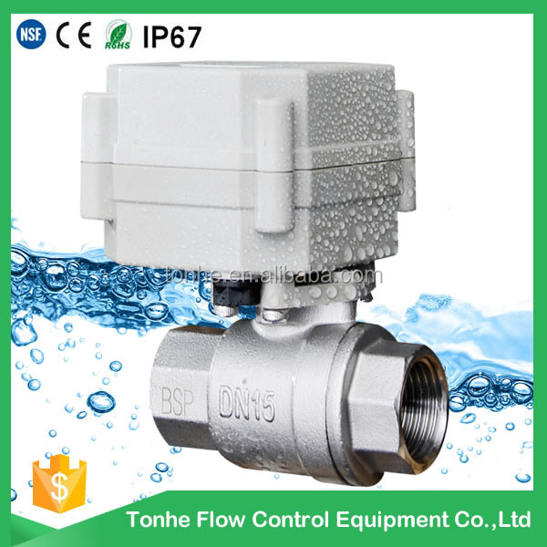 "<strong>1</strong>/2"" 12v 24v SS304 Stainless steel ball structure and water media 2-way electric motorized valve"