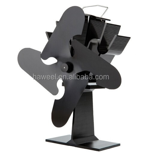 Liank SF-114 Eco-friendly Aluminum Alloy Heat Powered Stove Fan with 4 Blades for Wood / Gas / Pellet Stoves(Black)
