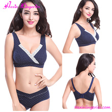 Comfortable Cotton Paded Navy Blue Wave Point Hot Sexy Nursing Bra
