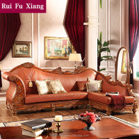 American classic style elegant genuine leather wood sectional sofa set with handmade carving N-230A
