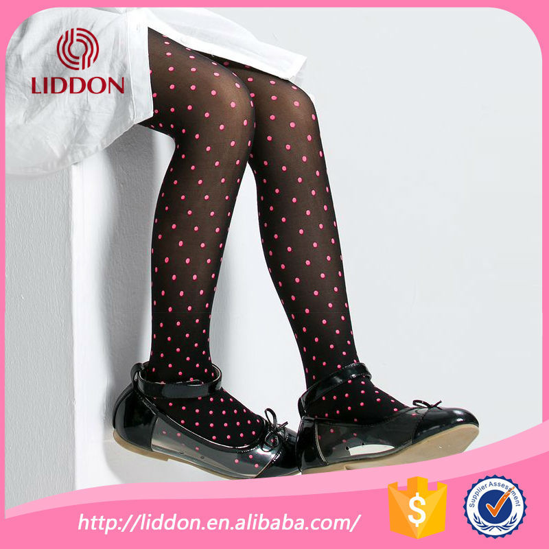 girls wearing printed tights kids nylon knitting tight pantyhose with printed dots