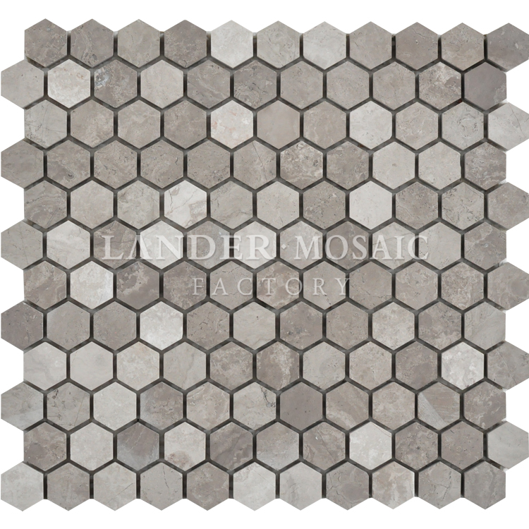 hexagonal dark wood grey stone mosaic tile for bathroom
