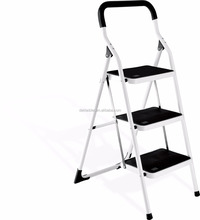 3 step Steel round tube step ladder with Non-Slip Tread