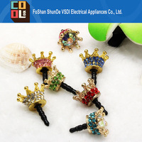 New Rhinestone Crown Phone Dust Plug Universal Earphone Jack Plug 3.5mm Ear Cap Cell Phone Pluggy for iPhone Samsung