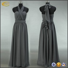 Garment factory oem service Convertible Popular Bridesmaid maxi grey chiffon dresses