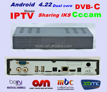 Android smart tv box dvb C cccam android 4.22 support xbmc iks sharing