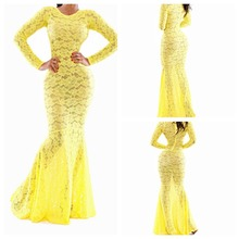 R1021H Wholesale new design elegant long sleeve sexy women lace long evening dress