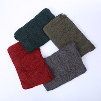 Newest pattern acrylic 100% wool knitted woolen scarf