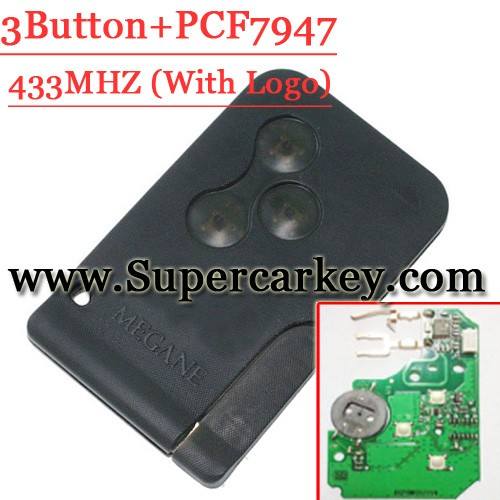 High quality Remote Smart Card 3 button 433mzh pcf7947 chip With logo For Renault Megane