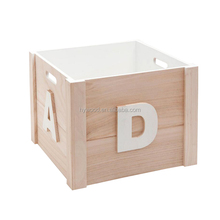 Rectangular Cheap Unpaint Wooden Toy Storage Ltter Box