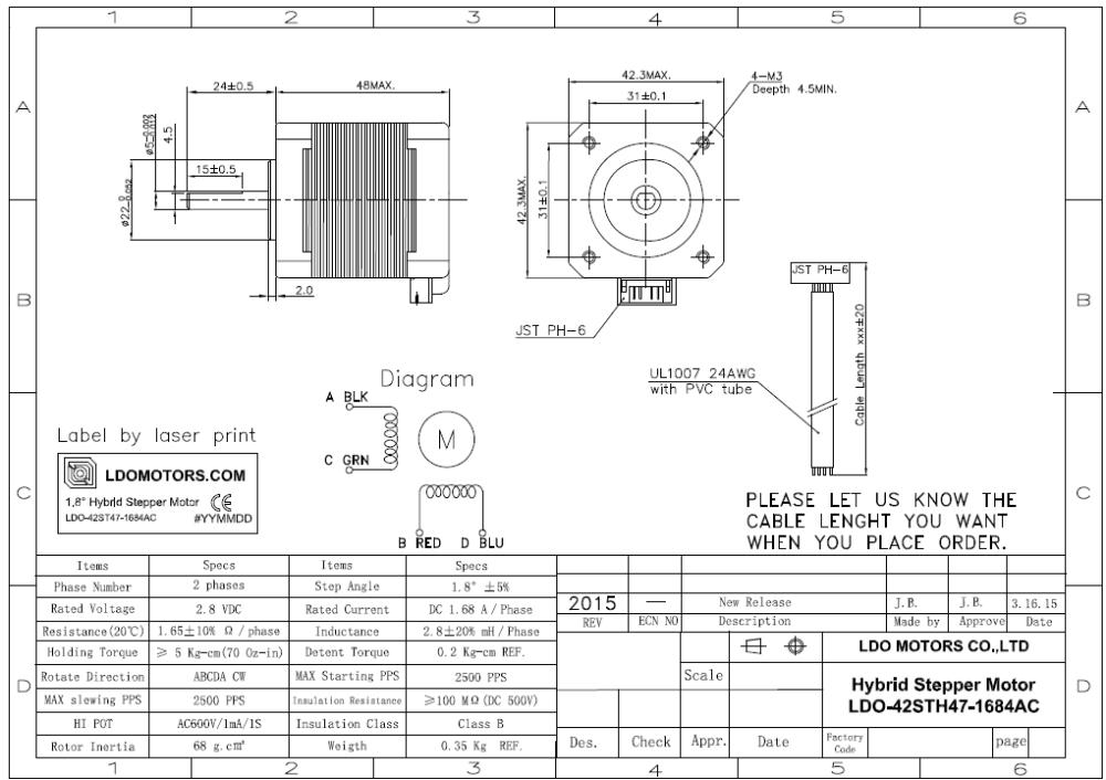 ldo 1 8 degree high torque nema 17 hybrid stepper motor  view 2 8v high torque  ldo motors