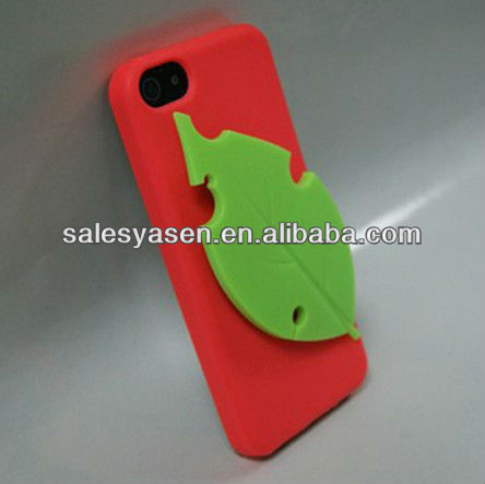 Rubber leaf silicon mobile phone cover for iphone 5 case