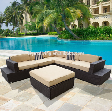 Hot sale hollow out design two seater sofa patio rattan sofa set