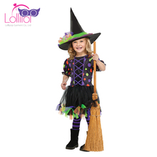 Cheap price hot selling polka dot witch girl dress costumes for halloween