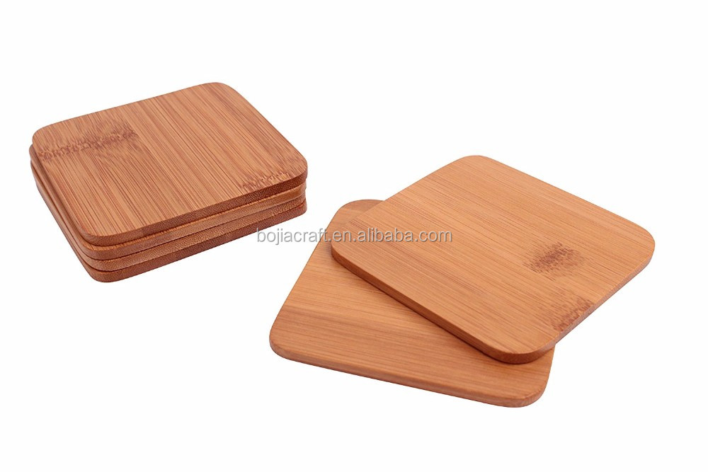 Custom logo square wooden cup mat beverage coaster bamboo tea coasters