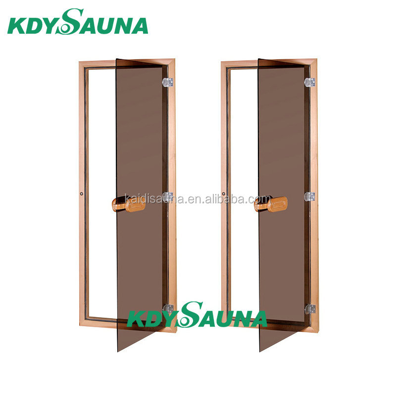 Brown Colour Glass Sauna Doors With Hemlock Frame