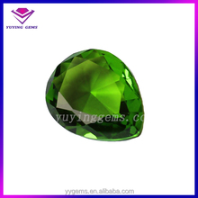 Grass Green Color 12x16MM Pear Shape Lab Created Crystal Glass Loose Stone
