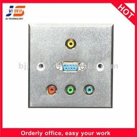 Silver VGA RJ45 and AV outlet for family, office and hotel wall socket