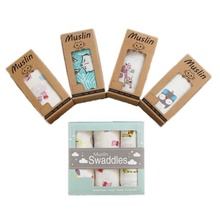 100% organic bamboo 3 pieces set super soft muslin baby swaddle blanket