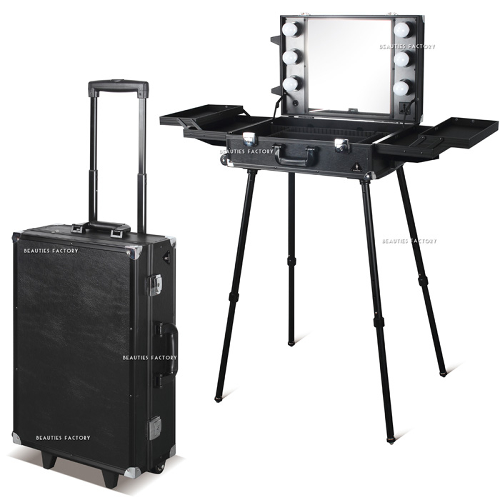 Beauties Factory Black Pro Studio Makeup Artist Cosmetic Rolling Case LED Light Trolley
