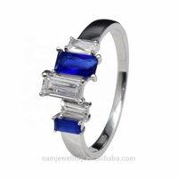 Wholesale Latest Fashion Sterling 925 Silver Emerald Cut Sapphire Women's Finger Ring Jewelry