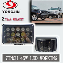 "Hot product high power work light 7"" led lamp 45w thin rectangle stickable led light for trucks/jeep/SUV"