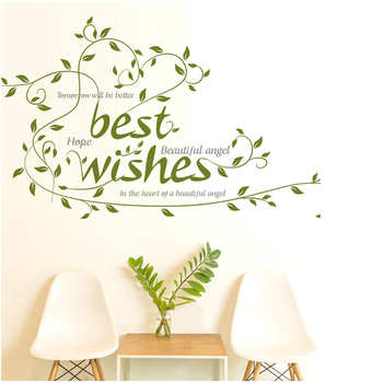 Green Color Best Regards Greetings Wall Sticker Home Decorations Xmas Festival Flowers Vinyl Removable Branch Sticker
