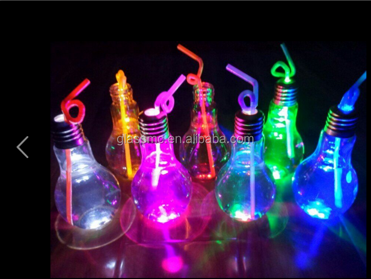 LED light shiny Lamp bulb shape glass juice bottle with metal cap