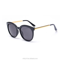 black round frame sunglasses with metal temples ,