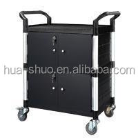 Heavy duty platform trolley and plastic shelf and steel panels and doors and storage cart trolley