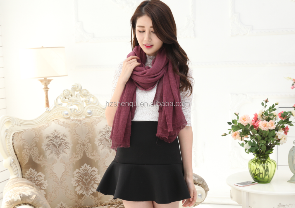 2016 high quality hot sale polyester&rayon blending scarf women cotton linen pashmina shawl scarf