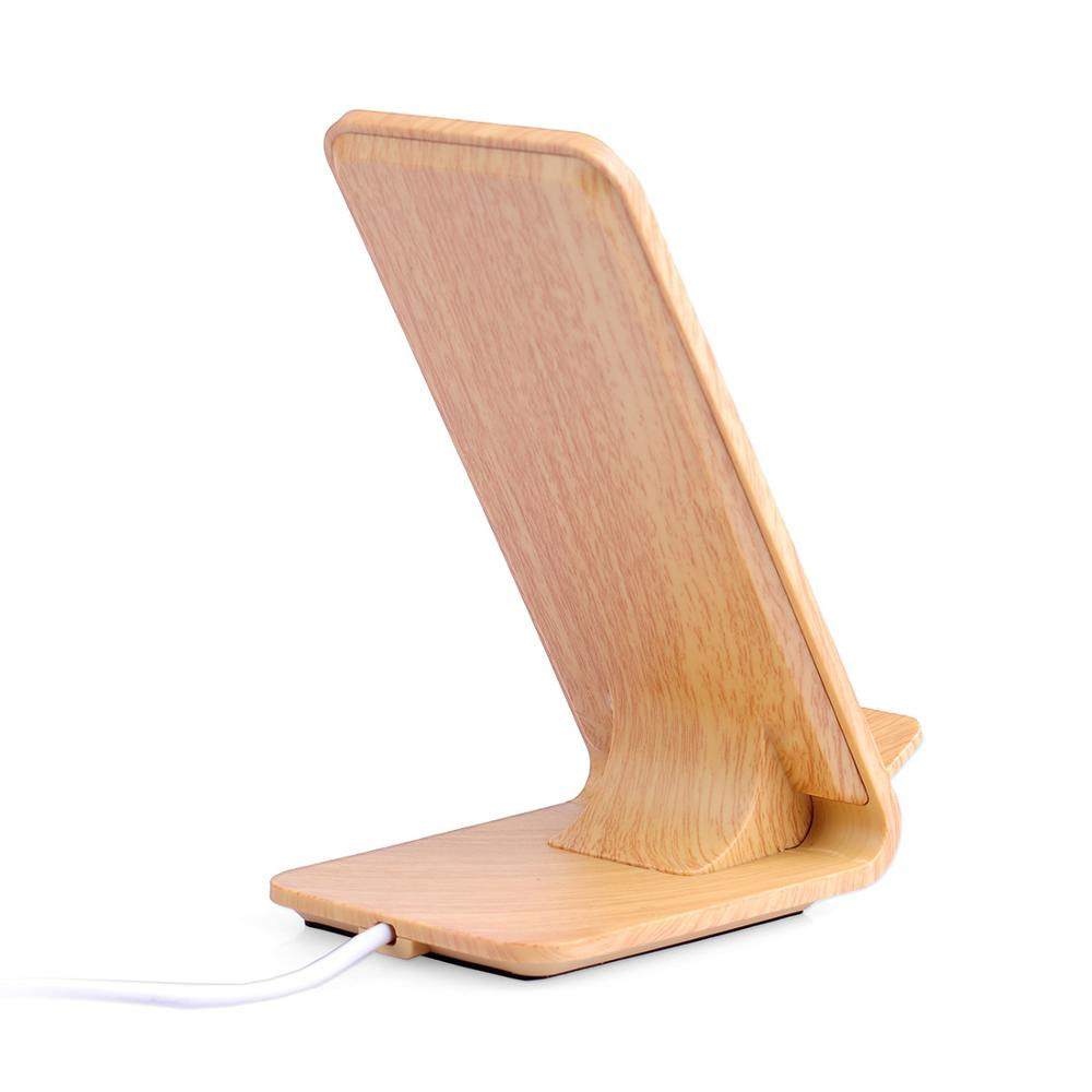For Iphone X Portable QI 9V 2.1A Wooden Mobile Phone Fast Wireless Charger Stand for Samsung Note 8 S8