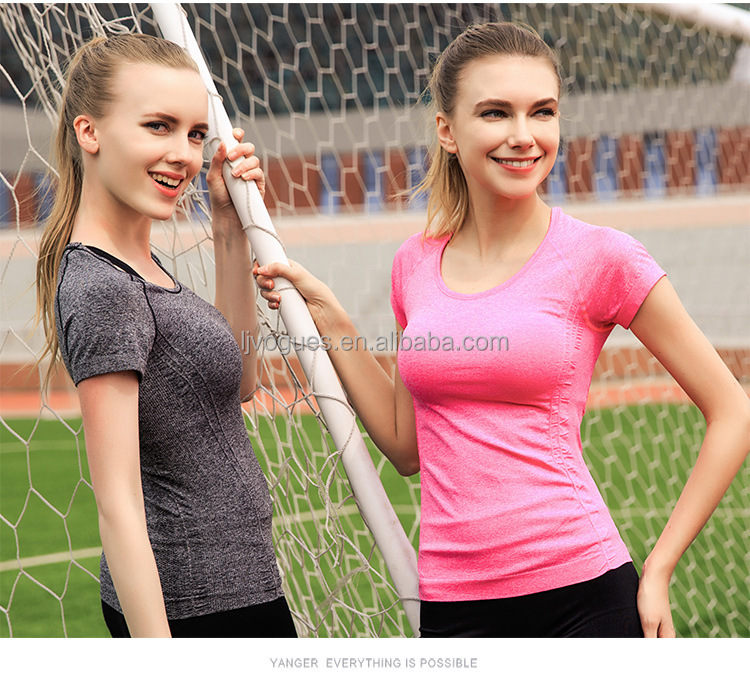 Women Workout Sports Top Stretch Yoga Fitness t shirts crop top GYM Wear