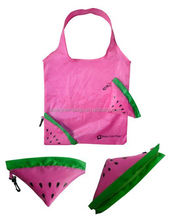 China supplier wholesale Reusable watermelon tote shopping bags with foldable pouch