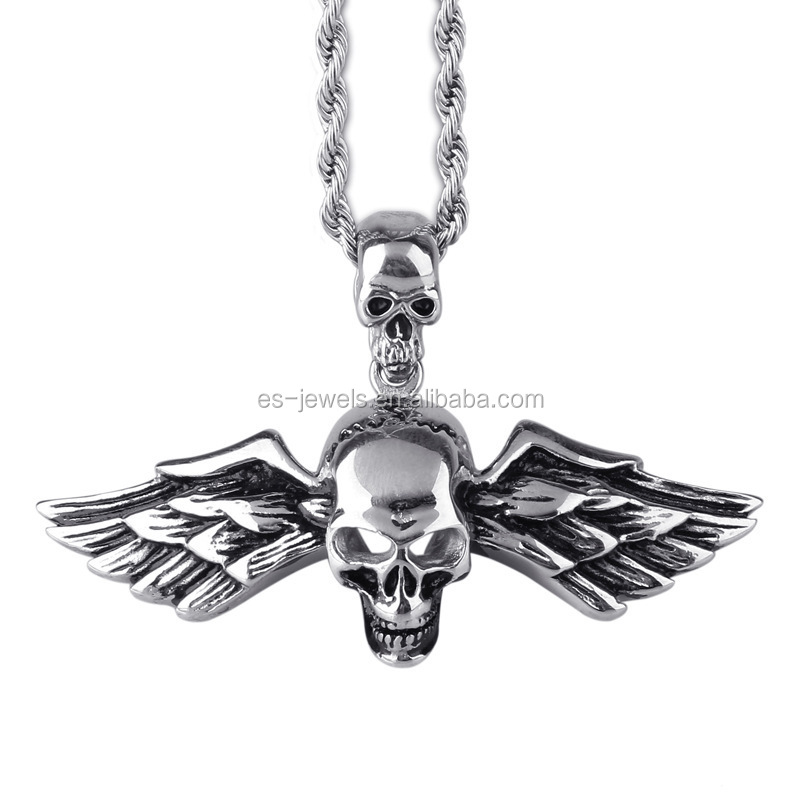 Cool Fashion Stainless Steel Skull Wing Style Pendant Necklace for Men