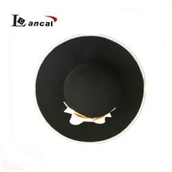 New fashion ladies contrast color wool felt floppy hat, bowler hat with bowknot