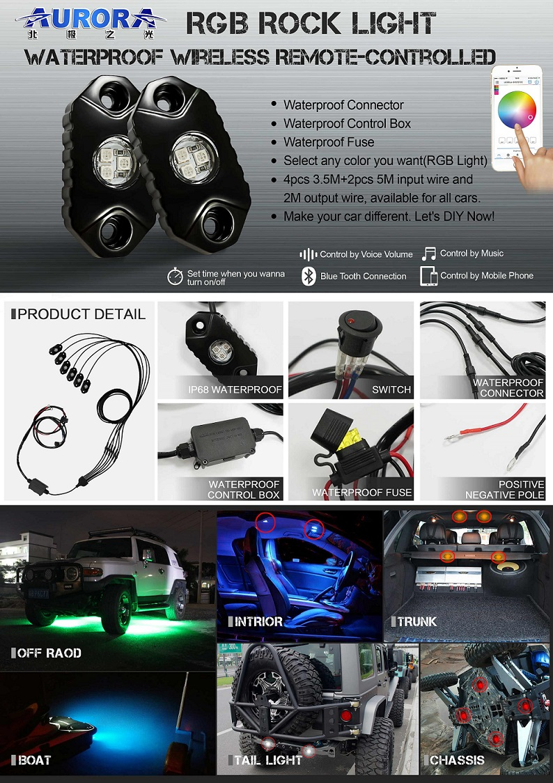 Aurora waterproof off road upgrade wireless control led rgb rock lights