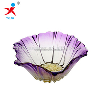 Wholesale Flower Shape Glass Plate / Puple Color or Clear Transparent Glass Plate for Friut/Candy/Cookies