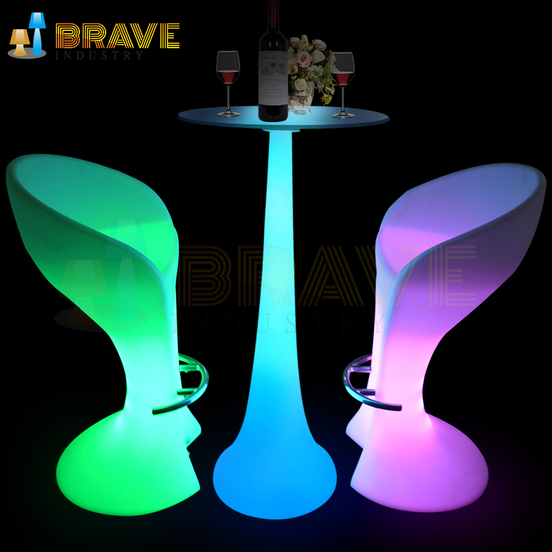 Bar table with led light,more color change by remote control
