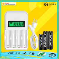CE ROHS Approvals LCD display 4 slots 1.2V Nimh Nicd Intelligent rechargeable battery charger for AA AAA battery