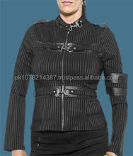 2015 womens Gothic Girl's Gangster Pinstripe Jacket material