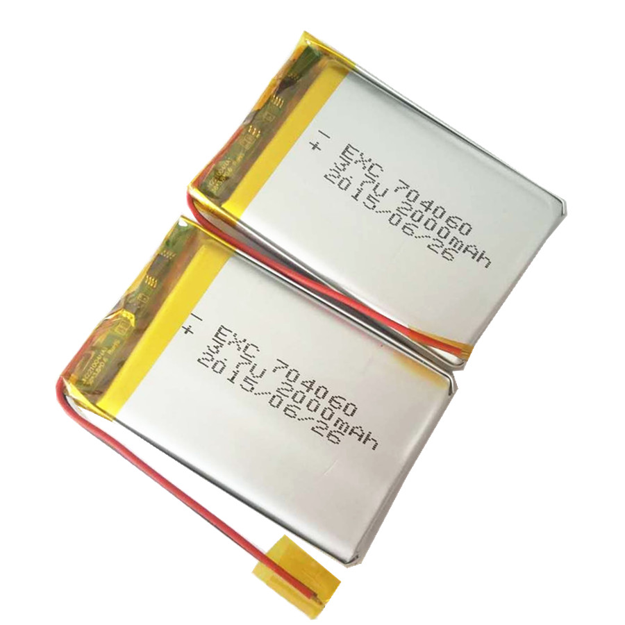 2000mAH 3.7V 7X40X60mm 0.28''X1.6''X2.4'' rechargeable li-polymer battery cell with PCM and wires
