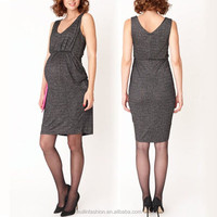 Korean style elegant sparkle Black maternity dress