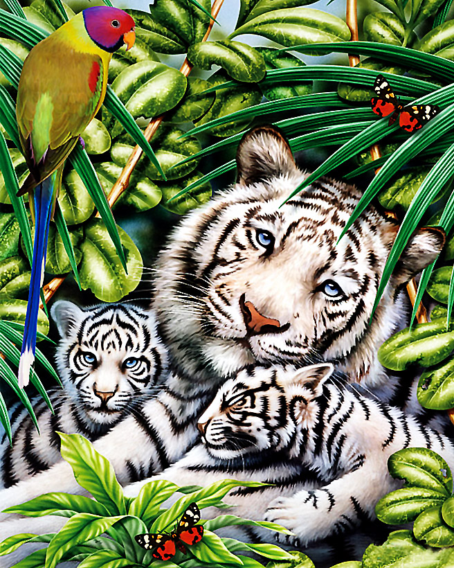GZ683- 40*50 handprint Painting Of Animal Cute Small Tiger and tiger mother Picture On Canvas diy diamond paint