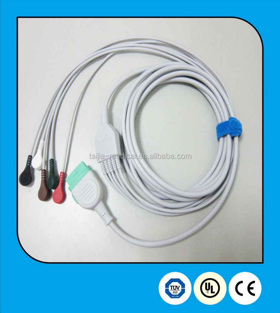 GE Ohmeda compatible ecg cable 10 pin fixed one-piece patient monitor 5 Leads ECG cable with defibrillation resisitance