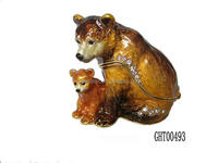 High quality animal metal jewelry box mom and baby bears enamel trinket box