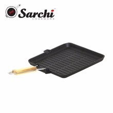 Gas square cast iron grill pan with folding handle, frying pan